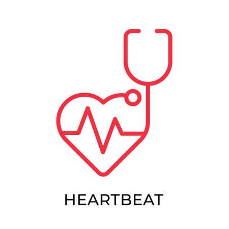 Heartbeat icon vector illustration. Medical Heartbeat vector template. Heartbeat icon design isolated on white background. Heartbeat vector icon flat design for website, sign, symbol, app, UI. Ilustração Vetorial