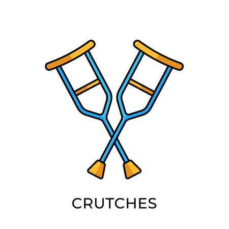 Crutches icon vector illustration. Crutches vector illustration template. Crutches icon design isolated on white background. Crutches vector icon flat design for website, sign, symbol, app, UI.