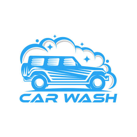 Car Wash Logo Vector Illustration template. Trendy Car Wash vector logo icon silhouette design. Car Auto Cleaning logo vector illustration for car detailing and car wash service. 로고