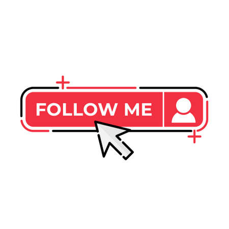 Follow Me button icon vector for social media. Follow icon Vector illustration design template. Follow icon or button for video channel, blog, social media concept and background banner Ilustración de vector