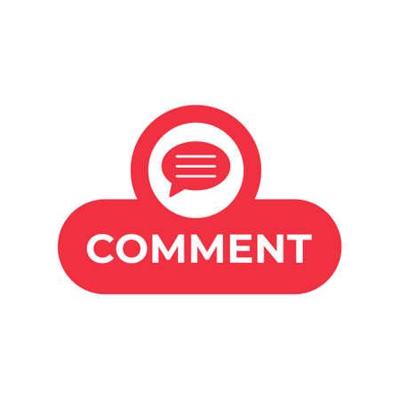 Comment button icon vector for social media. Comment icon Vector illustration design template. Comment icon or button for video channel, blog, social media concept and background banner Ilustración de vector