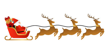 Santa Claus on a sleigh with reindeer vector illustration isolated on white background. Christmas Santa Claus in trendy flat design style. Santa Claus vector design for Christmas decoration elements Vector Illustration