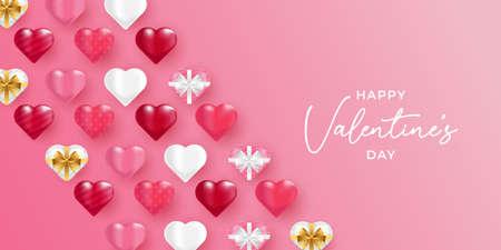 Valentines Day vector background illustration template. Valentines Day background with realistic hearts vector. Happy Valentines day vector sale banner, flyer, invitation, poster, background design