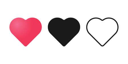 Set of Heart icon vector illustration template. Heart icon design collection. Love vector design isolated on white background. Love vector icon flat design for website, symbol, logo, sign, app, UI. Stock Illustratie