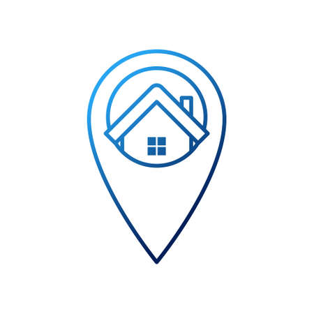 Home Logo icon vector design illustration. House with Location design concept for Home, Real Estate, Building, Apartment, construction and architecture business. Modern Home Location design concept. Logo