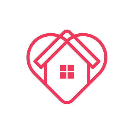 Stay at Home Logo Icon Vector design illustration. Home with Love icon design concept.