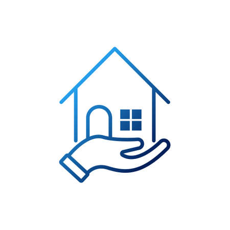Home with Hand Logo icon vector design illustration. Home with Hand Logo icon design concept for Home, Real Estate, Building, Apartment, construction and architecture business.