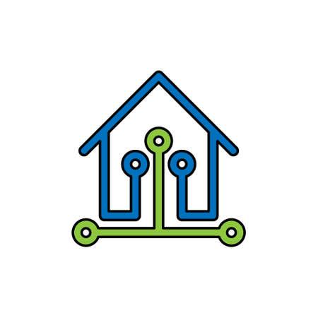 Smart Home Connection Icon Logo Vector design illustration. Smart home logo icon with wireless connection concept. Trendy Smart House vector icon flat design for website, symbol, logo, sign, app, UI Иллюстрация