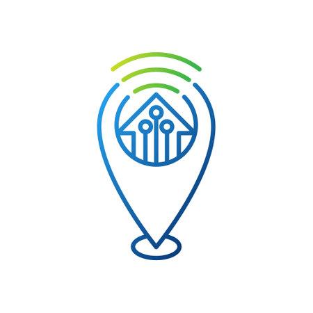 Smart Home Icon Logo Vector design illustration. Smart home logo icon with Location design concept. Trendy Smart House Location vector icon flat design for website, symbol, logo, sign, app, UI Иллюстрация
