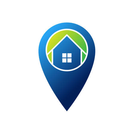 Home Logo icon vector design illustration. House with Location design concept for Home, Real Estate, Building, Apartment, construction and architecture business. Modern Home Location design concept.