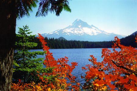 Besneeuwde berg in de herfst
