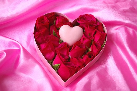 Dry Brush Valentine Heart Candy and Roses on Satin Stock Photo - 8794181