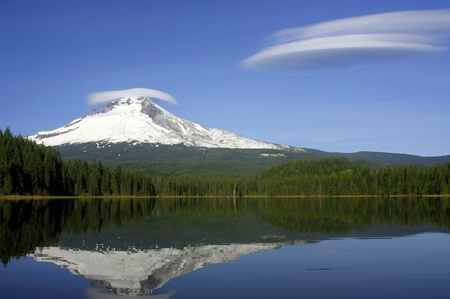 snow capped mountain: Mt. Mt. Hood Reflections on Trillium Lake with Lenticular Clouds Stock Photo