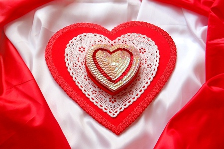 red glittery: Glittery Hearts on Red and White Satin