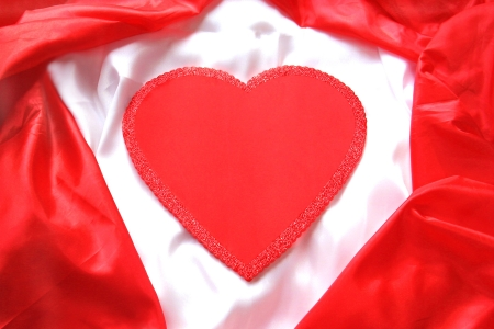 Valentine Heart on white and Red Satin for Text Stock Photo - 17904471