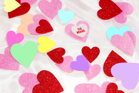 Glitter and Matte Hearts on White Satin