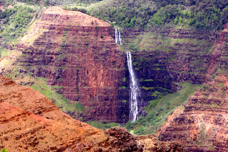 Waimea Canyon Waterfall in Kauai Stock Photo