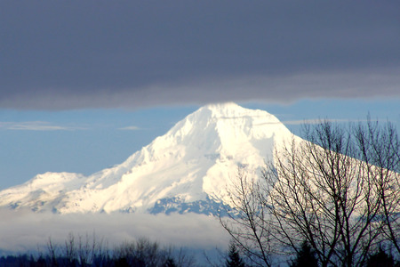 mt  hood: Mt. Hood Oregon gleaming in clouds and fog