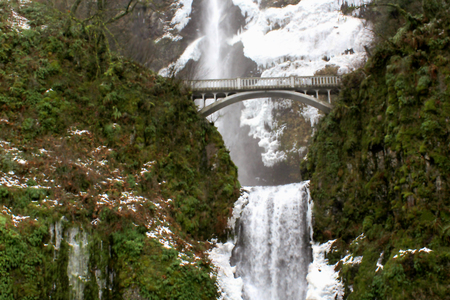 partially: Multnomah Falls Partially Frozen Over Stock Photo