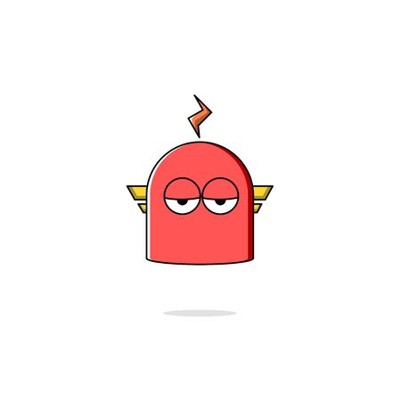 vector illustration of a robot with a flat expression like annoyance, red robot 免版税图像 - 146354625