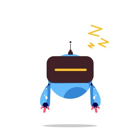 vector illustration of a deep blue sleeping robot, asleep
