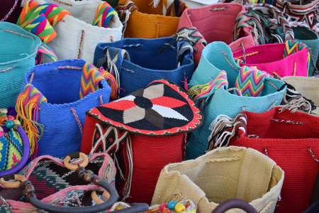Fair of handcrafted backpacks in Colombia