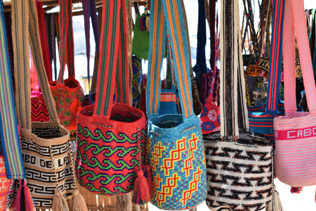 Woven backpacks, Colombian handicrafts Stock Photo - 124857632