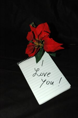 block note: Block notes: i love you with a red flower Stock Photo