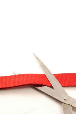 inauguration, cutting a red ribbon with scissor photo