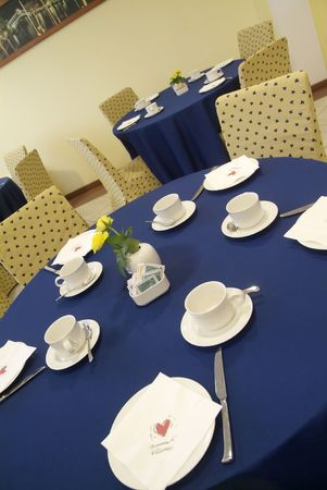 Blue and yellow table before wedding in restaurant Stock Photo - 1148262