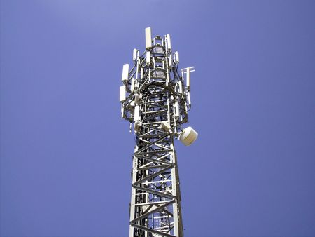 communications antenna isolated on the sky Stock Photo - 3435367