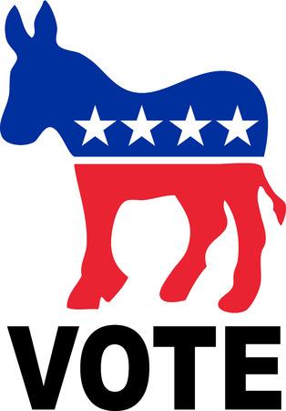 burro: Burro de Demócrata aislada sobre un fondo blanco