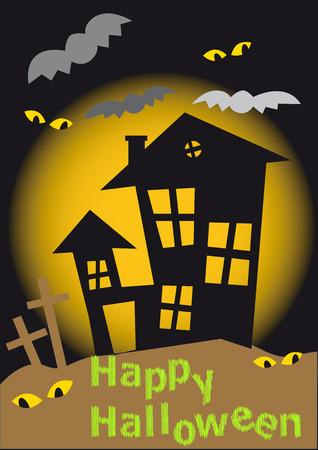 Poster for Halloween. Eyes, bats, cross, a House... Vector