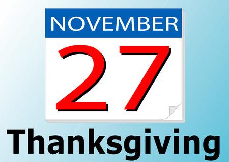 27 of November. Thanksgiving day. Calendar date Stock Vector - 3647180