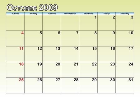 October leaf of a monthly calendar Vector