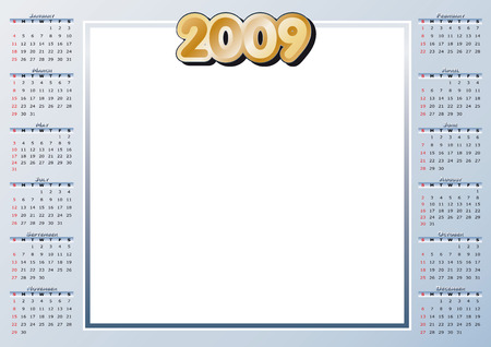 2009 Calendar with free space for your own pics Vector