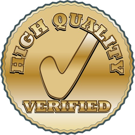 quality seal: Quality seal with a symbol of verification. Gold