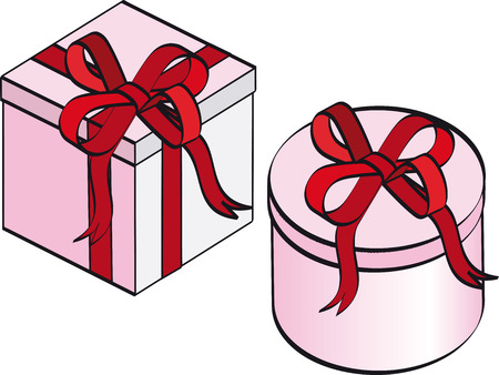 Two gift boxes in pink color with ribbons Stock Vector - 3815947