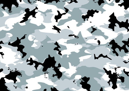 Camouflage pattern in gray, black, and white colors