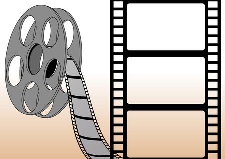 cinematography: Filmstrip frame. Easy to edit for put your own photos Illustration