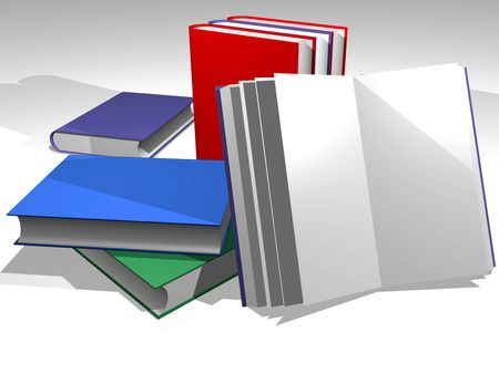 Various books in diverse colors. Green, red, blue. Write your own text  in the covers Stock Photo - 4192778