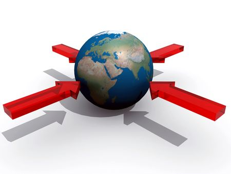 Various arrows pointing to the earth. Abstract concept of target Stock Photo - 4224587