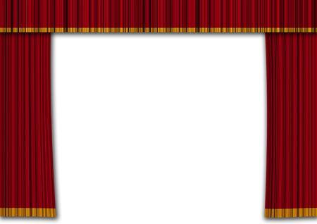 cortinas rojas: Realista cortinas rojas en un teatro. Mostrar concepto y entretenimiento Foto de archivo