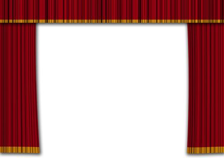 classical theater: Realistic red curtains in a theater. Show and entertainment concept Stock Photo