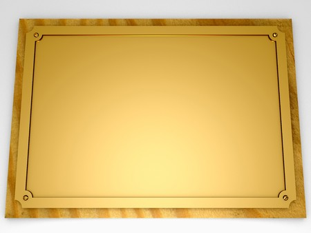 Golden conmemorative plaque with screws. Put your own text in the free space photo