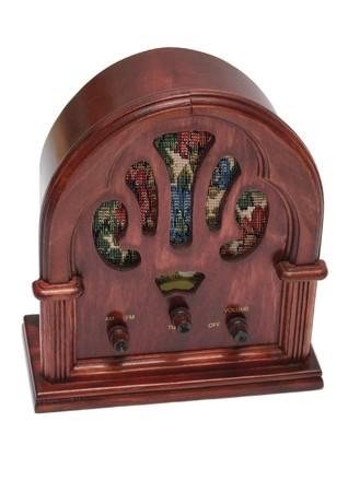 Antique radio isolated on white photo
