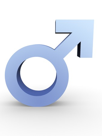 Male symbol in blue on a white background
