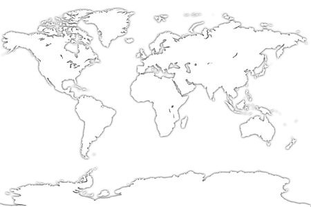 White map of the world over a white background. Very High resolution