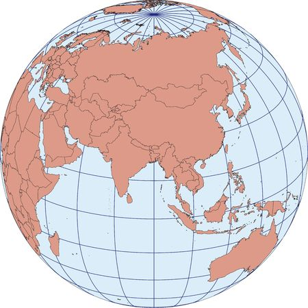 graticule: Globe Map centered on Asia. Ortographic projection with graticule