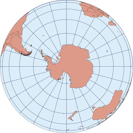 Globe Map centered on South Pole. Ortographic projection with graticule